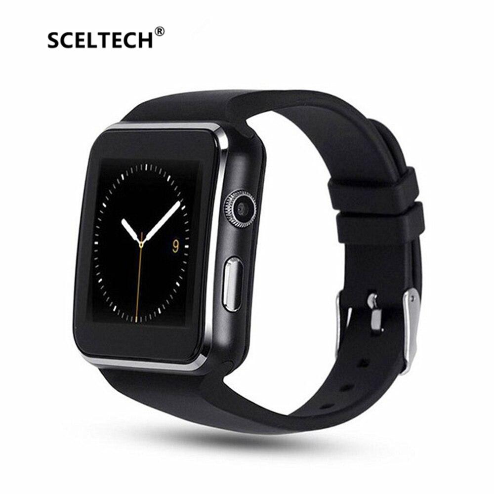 SCELTECH Passometer X6 Esporte Smartwatch Bluetooth Relógio Inteligente com Suporte de Câmera Cartão SIM Whatsapp Facebook para Android Telefone