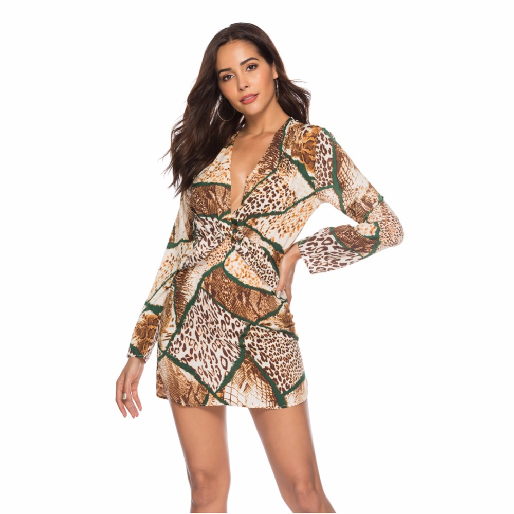 Spring Summer V Neck Leopard Print Dress Women Fashion Sexy Long Sleeve Party Club Dresses Casual Bodycon A-Line Dress Vestido