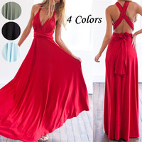 2016 Newest Women Summer Long Maxi Dress Sexy Red Bandage Multiway Bridesmaids Convertible Dress Women Long Gown