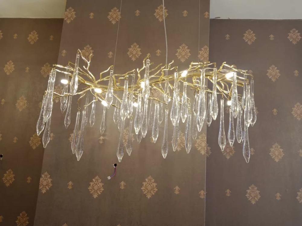 Французская хрустальная лампа для гостиной, люстра, светодиодный украшение в виде ветки дерева, люстра для отеля, ресторана - 4