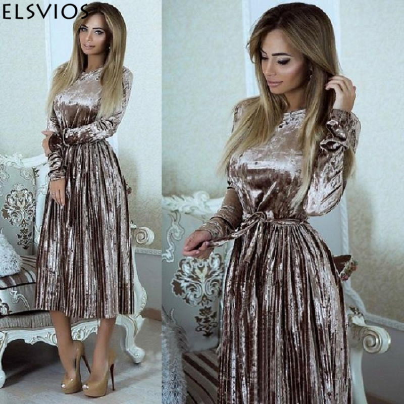 ELSVIOS Women 2018 Autumn Winter Robes Velours Elegant Pleated Dress Velvet Belted Party Dress Solid Long Sleeve A-Line Dresses Платье