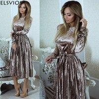 ELSVIOS Women 2018 Autumn Winter Robes Velours Elegant Pleated Dress Velvet Belted Party Dress Solid Long