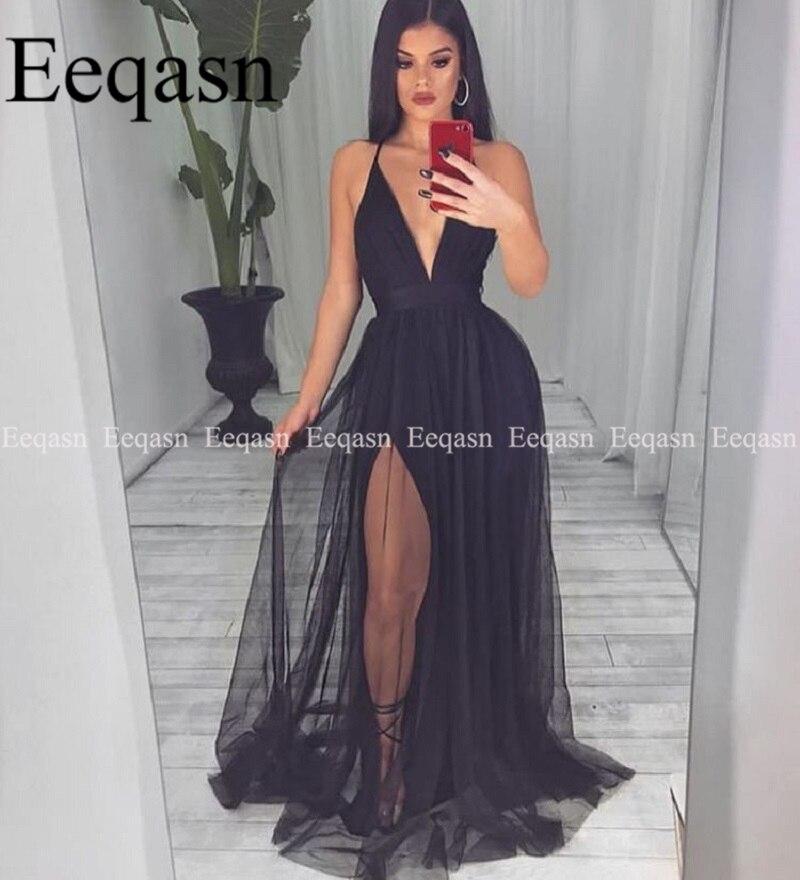 US $81.75 25% OFF|Sexy Black V Neck Prom