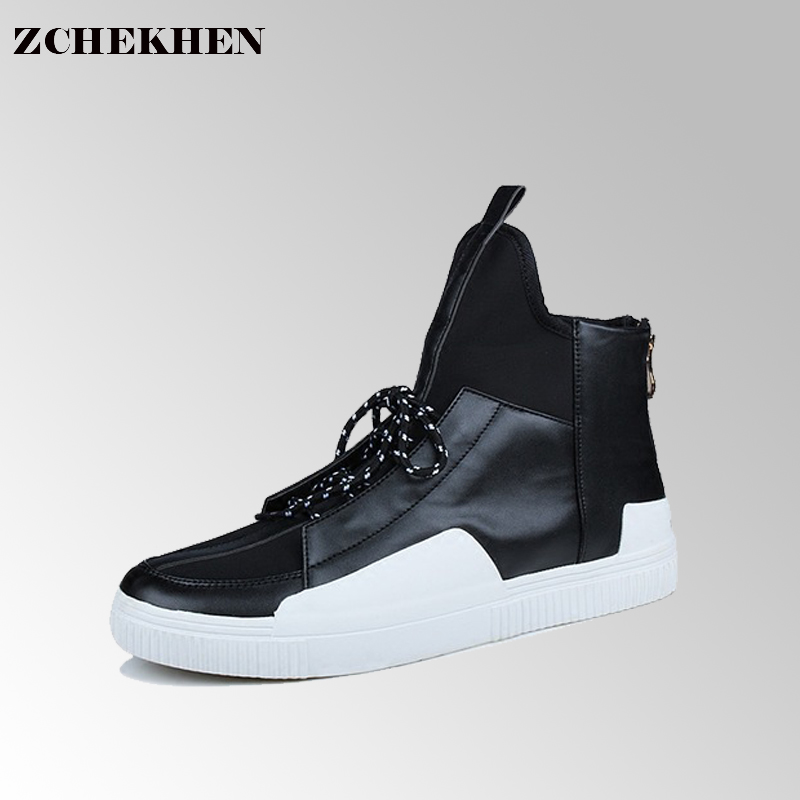Luxury brand Hip-hop dancing cool red black color Shoes Fashion Boots High Top Trainers justin kanye West Boots #45 ripped jeans for men skinny distressed slim famous brand designer biker hip hop swag tyga white black jeans kanye west