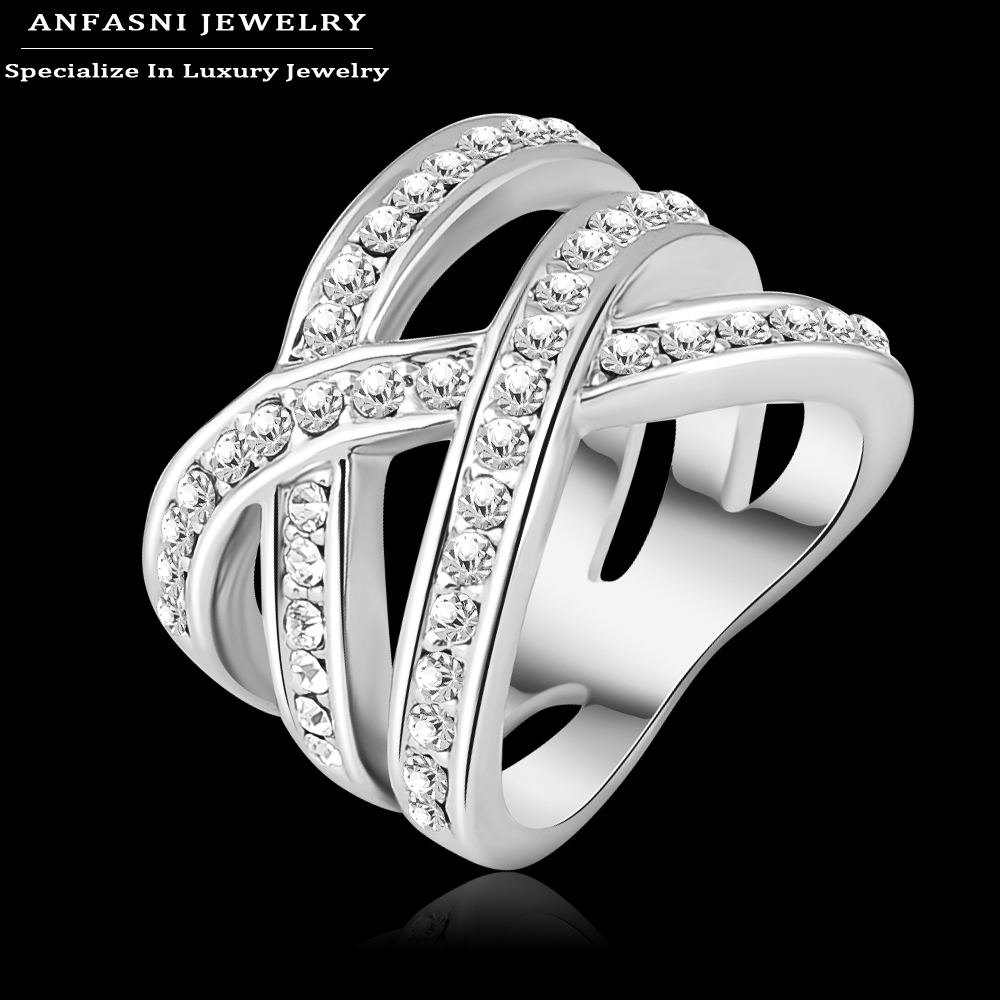 ANFASNI Latest Design Brand Ring Silver Color Genuine SWA Stellux Austrian Crystal Luxury Ring For Women