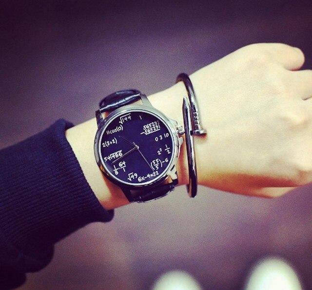 7cc8d39edc1 Moda Casual Relógio de Quartzo de Couro Das Senhoras Símbolos Matemáticos  Mulheres Homens Relógios de Pulso