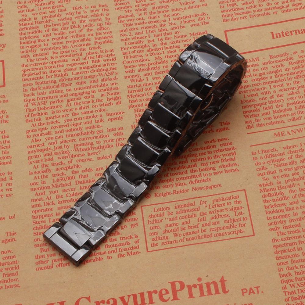 Black Ceramic 22mm Watchband Bracelet fit Gear S3 Classic frontier Watches smart accessories diamond watch strap polished longer watchbands 20mm 23mm high quality rubber watchband diamond watch fit ar5890 ar5905 ar5919 ar5920 watches bracelet