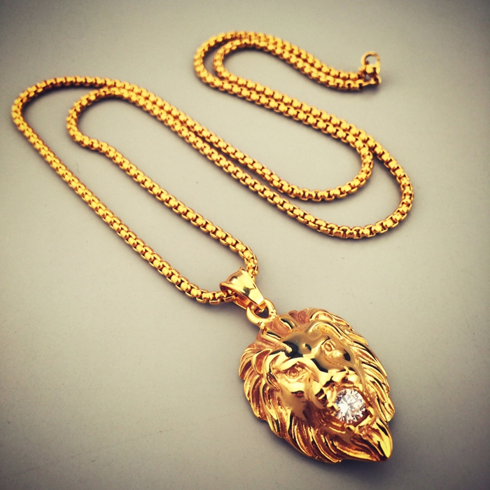 Mens Diamond Pendant Necklace Fashion hot sale stainless steel lion head necklace creative cz fashion hot sale stainless steel lion head necklace creative cz zirconia pendant necklace men women jewelry in chain necklaces from jewelry accessories on audiocablefo