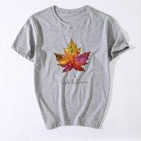 Cotton Casual Mens Maple Leaf Printed T-shirt Top Quality Fashion Short Sleeve Men tshirt O-neck Tee Shirts Brand Camisa T-shirt