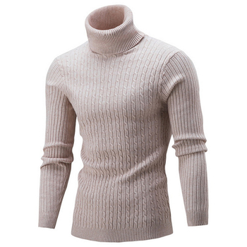 2019 High Quality Warm Turtleneck Sweater Men Fashion Solid Knitted Mens Sweaters Casual Slim Pullover Male Double Collar Tops 1