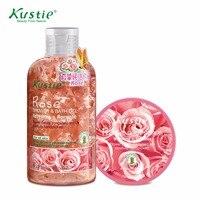 Kustie Natural 220ml Romantic Rose Shower Gel 100ml Rose Body Scrub Promotion Set