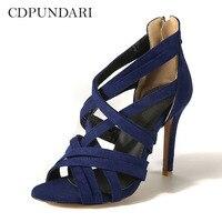 CDPUNDARI Women High heel Sandals Flock Zipper summer shoes woman