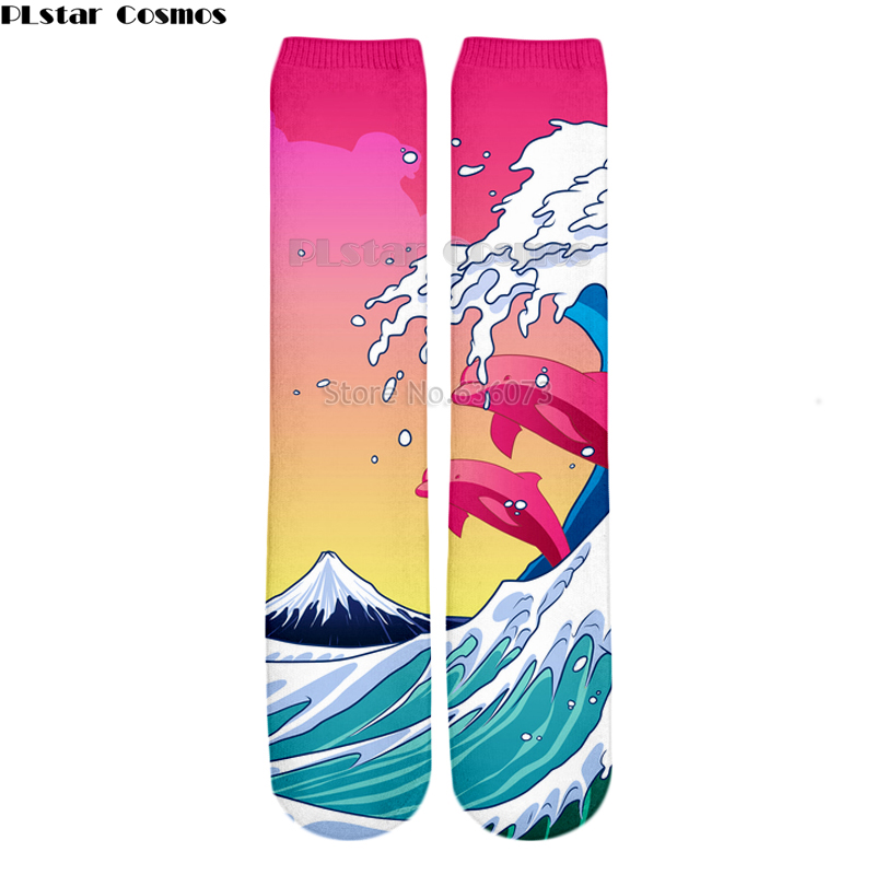 PLstar Cosmos Drop shipping 2018 New Fashion Mens 3d Socks Waves and dolphins Printed Men/Women Casual Straight socks 1