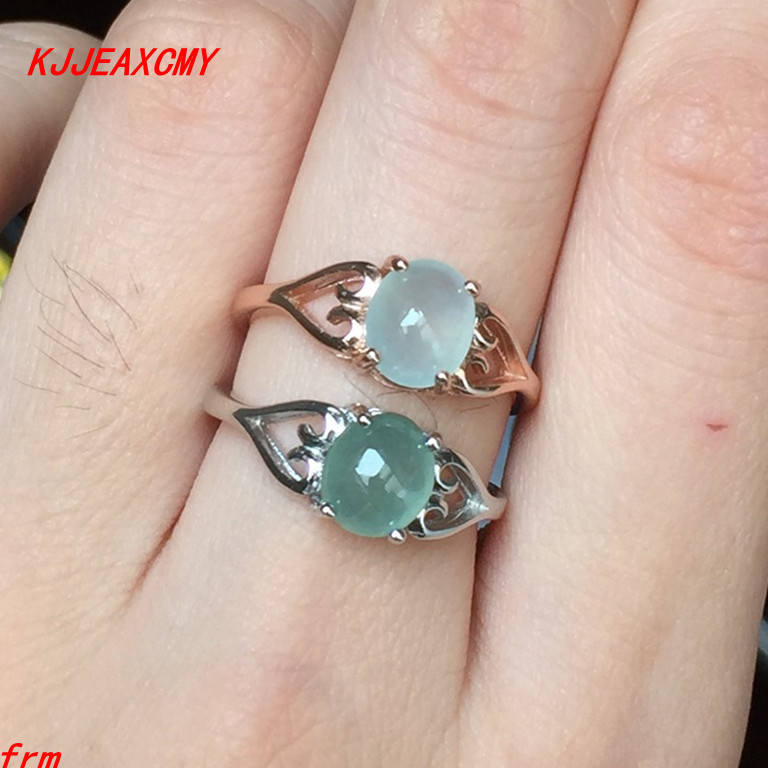 KJJEAXCMY Fine jewelry 925 sterling silver inlaid natural a cargo jade ring