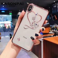 Amor corazón diamante Enchapado suave funda de teléfono para iPhone 7 6 6 S 8 Plus funda de teléfono de silicona para iPhone xs Max X Xr Coque caso claro