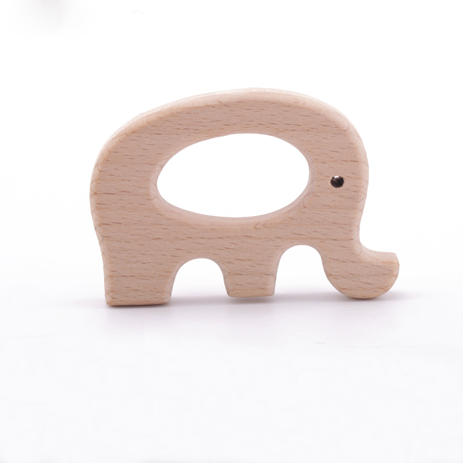 1pc Animal Shape Teether Food Grade Beech Wood Personalized Baby Teething Toddler Toy DIY Chewable Pendent Elephant Teethers