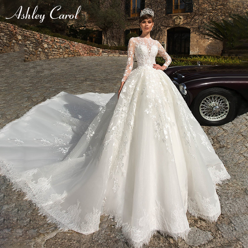 Ashley Carol Sexy O-Neck Long Sleeve Lace Ball Gown Wedding Dresses 2019 Luxury Royal Train Bride Dress Princess Wedding Gowns