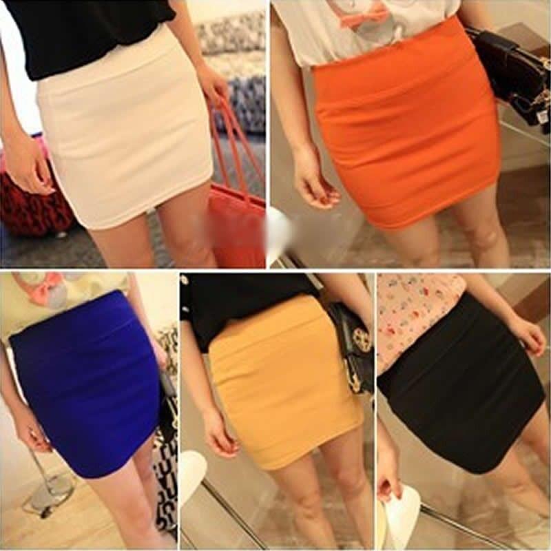 High Quality 2018 New Womens vogue mini skirts candy color A line Stretch club wear skrits pencil skirt neon saias femininas HOT