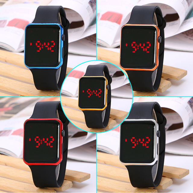 Colorful Rectangle Digital Watches for Children 2018 New Silicone LED Display Sp