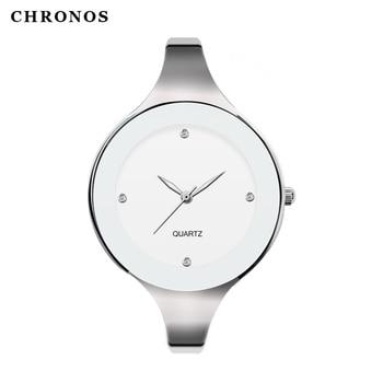 цена на CHRONOS Women Small Size Whole Bracelet Quartz Watch Ladies Fashion Simplicity Shock Resistant Alloy Wristwatch CH18