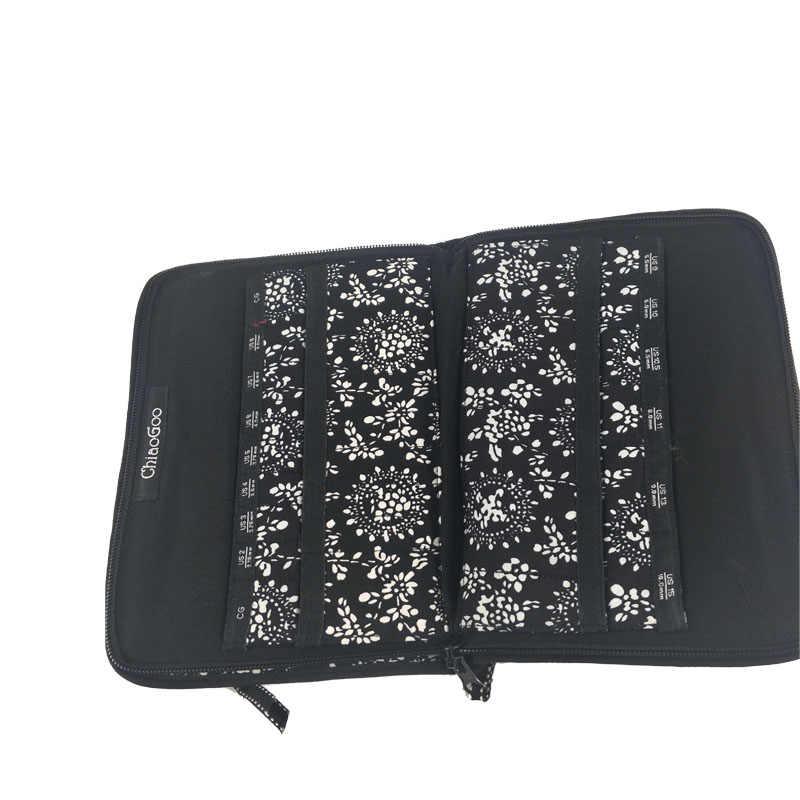 TEMENA impresión ChiaoGoo bolsa de aguja intercambiable caja de aguja de almacenamiento para tejer y pincel de maquillaje 25,3 cm * 15,3 cm ZJ-0002-3