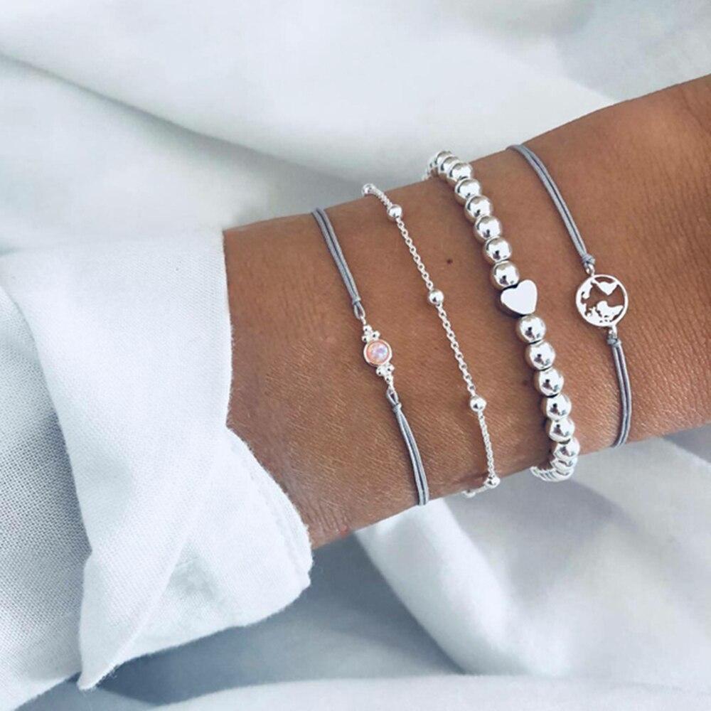 Cuteeco Bohemian Fashion Handmade Heart Ocean Map Bracelet Sets Women Grey Rope Chain Bracelets Jewelry Lovers Gift 2019 Hots in Chain Link Bracelets from Jewelry Accessories
