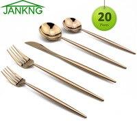 JANKNG 20 Piece 304 Stainless Steel Dinnerware Set Service for 4 Black Gold Rose Silver Cutlery Knife Fork Teaspoon Tableware
