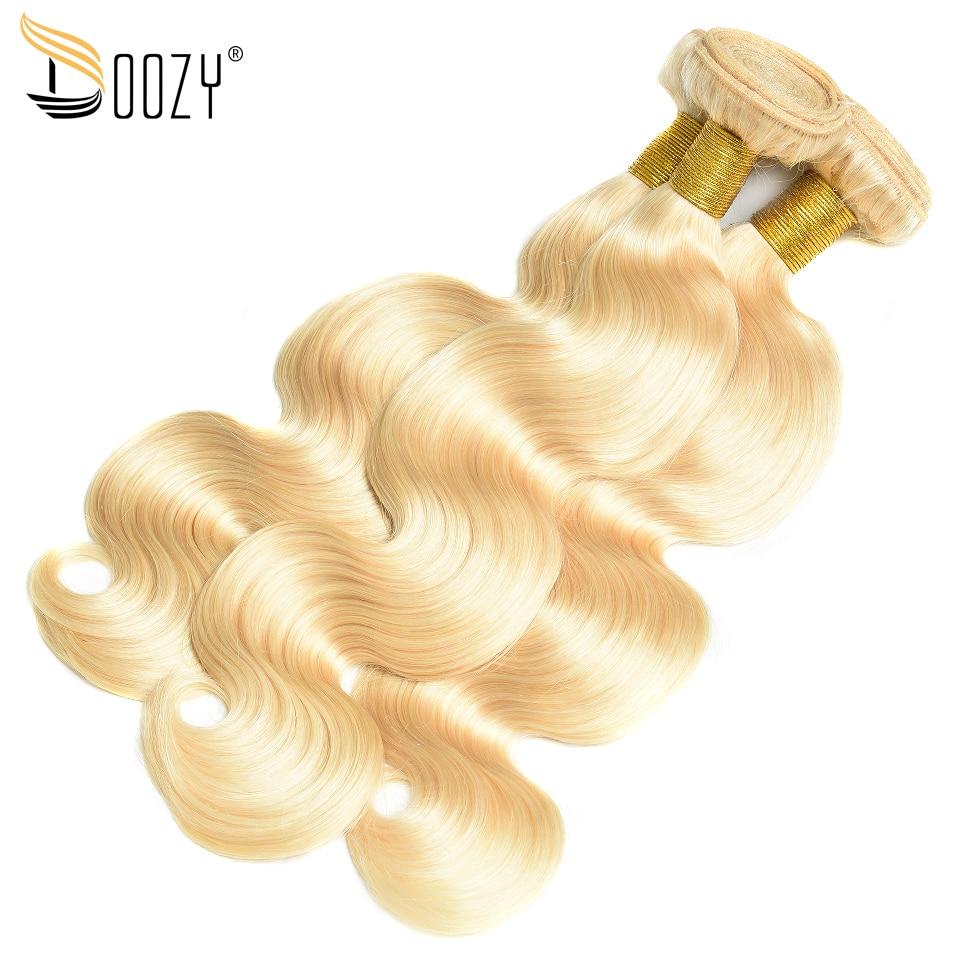 Doozy couleur 613 russe Blonde cheveux humains Double trame Extensions de cheveux vague de corps Remy brésilien cheveux humains Cany acheter 3/4 faisceaux