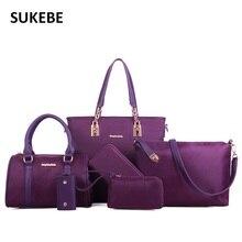 Nueva Llegada de Las Mujeres de Mano Bolsas de Hombro de Las Mujeres de Señora Handbag Messenger Crossbody Bolsa 6 Sets