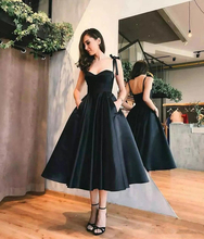Verngo  Satin Elegant Prom Dresses Tea Length Simple Evening dresses Vintage Black Dress Vestidos De Fiesta Noche