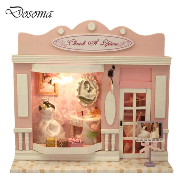 Kids Wooden DIY House Puzzle Toys Doll House Furniture Kits Pink Wedding Shop Love Life Hut Stores Hand-assembled Model Toys