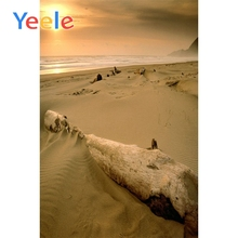 Yeele Seaside Deserted Beach Old trunk Backgrounds Summer Sand Waves Sunset Sky Scenic Photographic Backdrops For Photo Studio