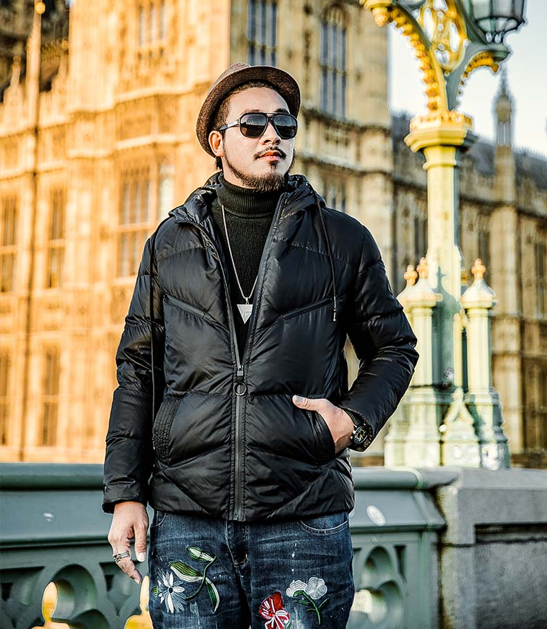 new winter fashion 2018 man duck   down     coat   male warm parkas short jacket black with a hood plus size 2xl 3xl 4xl xxxxl