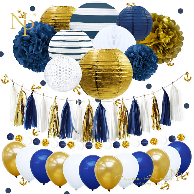 Nicro New 38Pcs Set Navy Blue Anchor Happy Birthday Paper Flower PomPom Balloons Party Decoration
