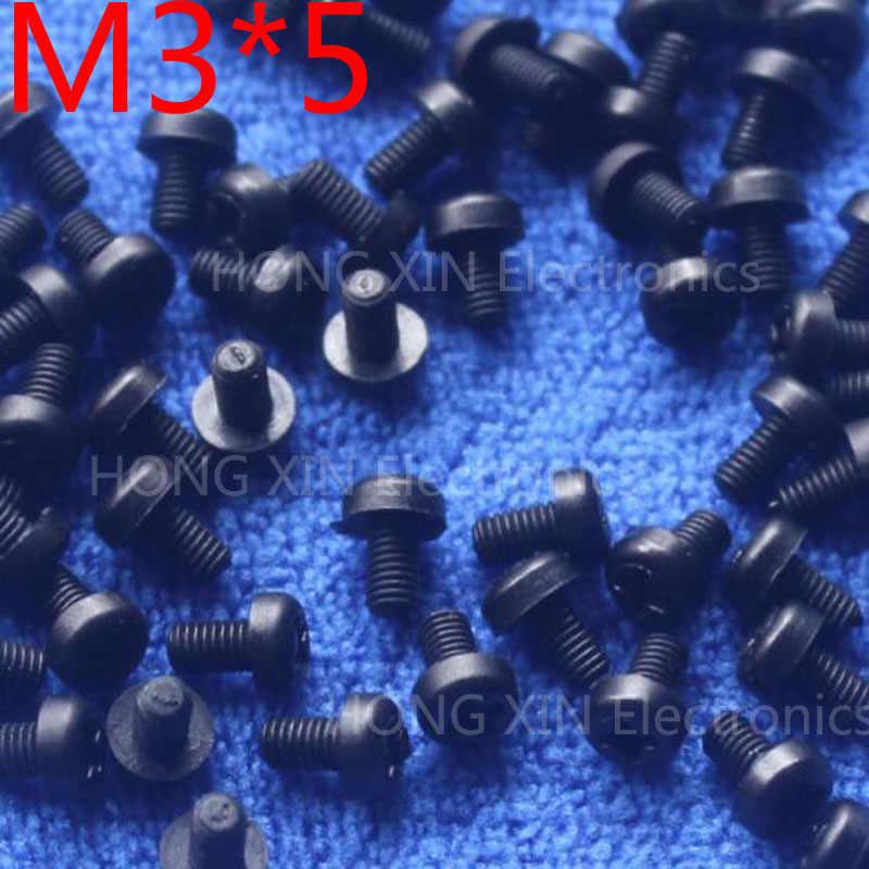 M3 * 5 5mm czarny 100 sztuk okrągłe głowy śruby nylonowe śruby z tworzywa sztucznego śruba izolacyjna nowy zgodny z RoHS PC/deska DIY hobby itp