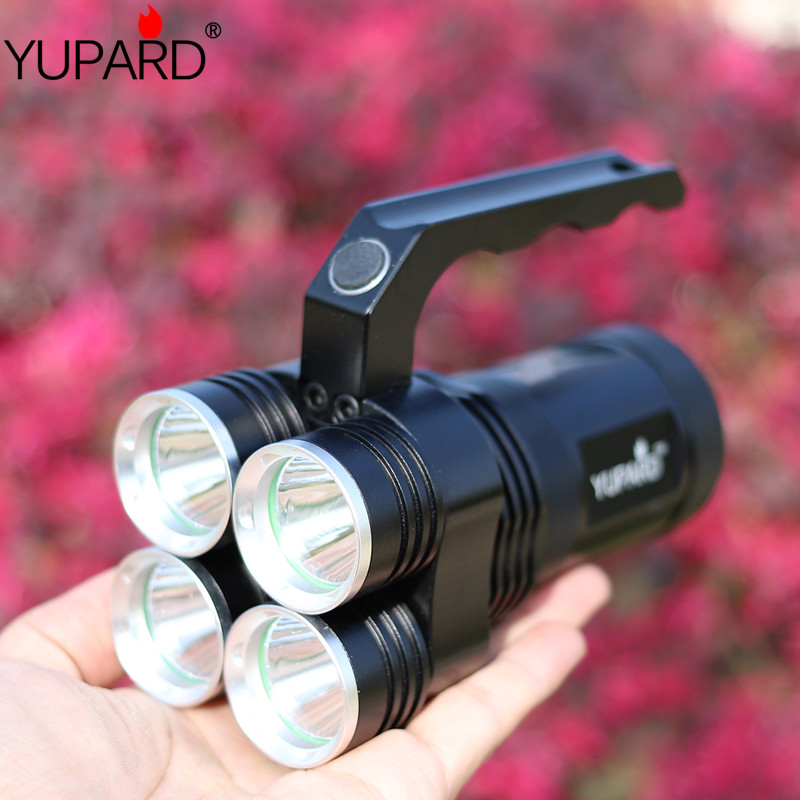 yupard 4*XM-L2 LED T6 LED Spotlight Searchlight emergency light Torch high bright Flashlight rechargeable hunting fishing lamp portable flashlight torch light led rechargeable searchlight 30w long range bright spotlight for hunting and camp