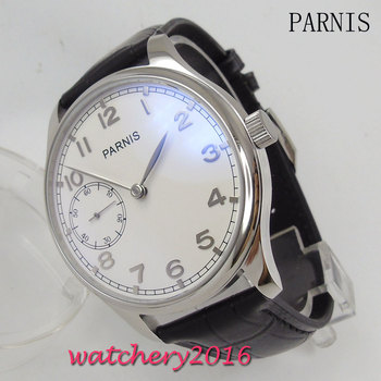New 44mm Parnis white dial black Leather Strap  stainless staal case polished 17 jewels hand winding 6497 movement Men's Watch - discount item  35% OFF Men's Watches