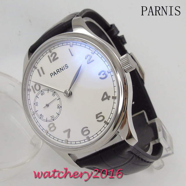 New 44mm Parnis white dial black Leather Strap  stainless staal case polished 17 jewels hand winding 6497 movement Mens Watch