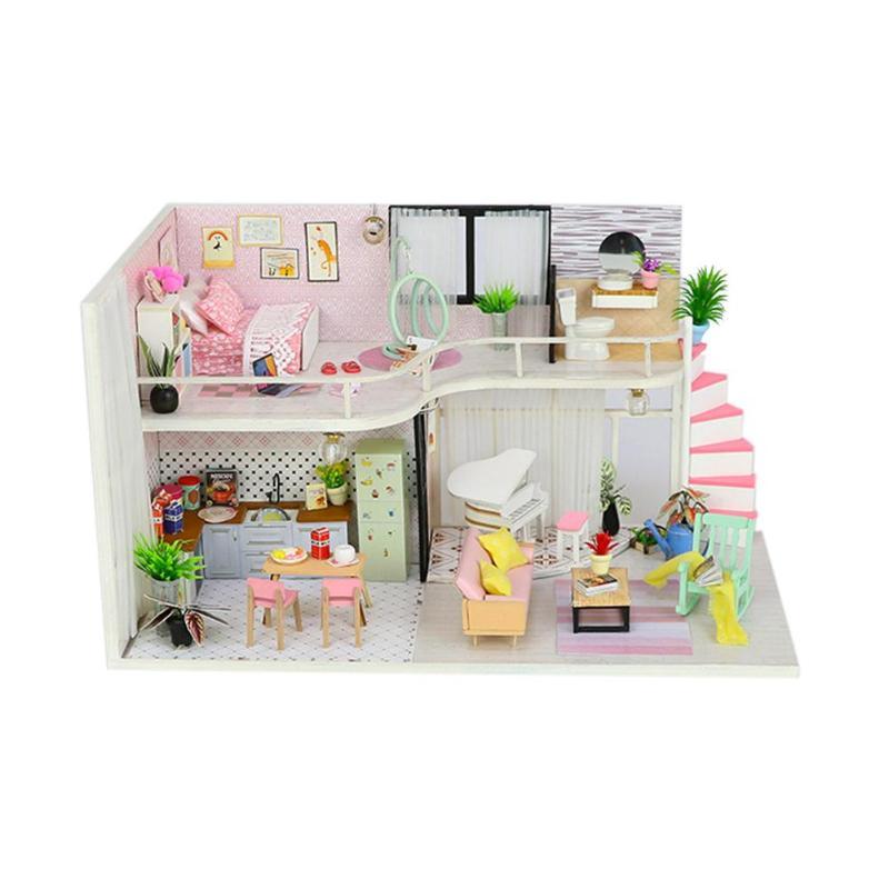 Móveis Casa de Bonecas de madeira Em Miniatura Diy Kit Tampa Protetora Contra Poeira 3D Miniaturas Casa De Bonecas Brinquedos Com Móveis Acessórios Da Boneca para As Crianças