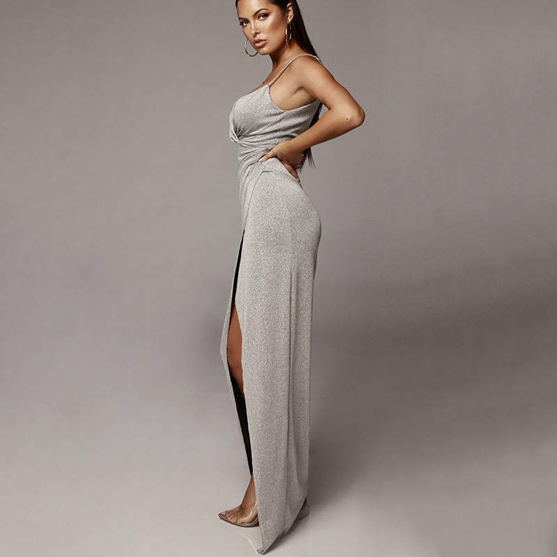 High Split Sexy V Neck Bodycon Long Dress Spaghetti Straps Backless Bandage Maxi Dress Casual Beach Party Summer Dress