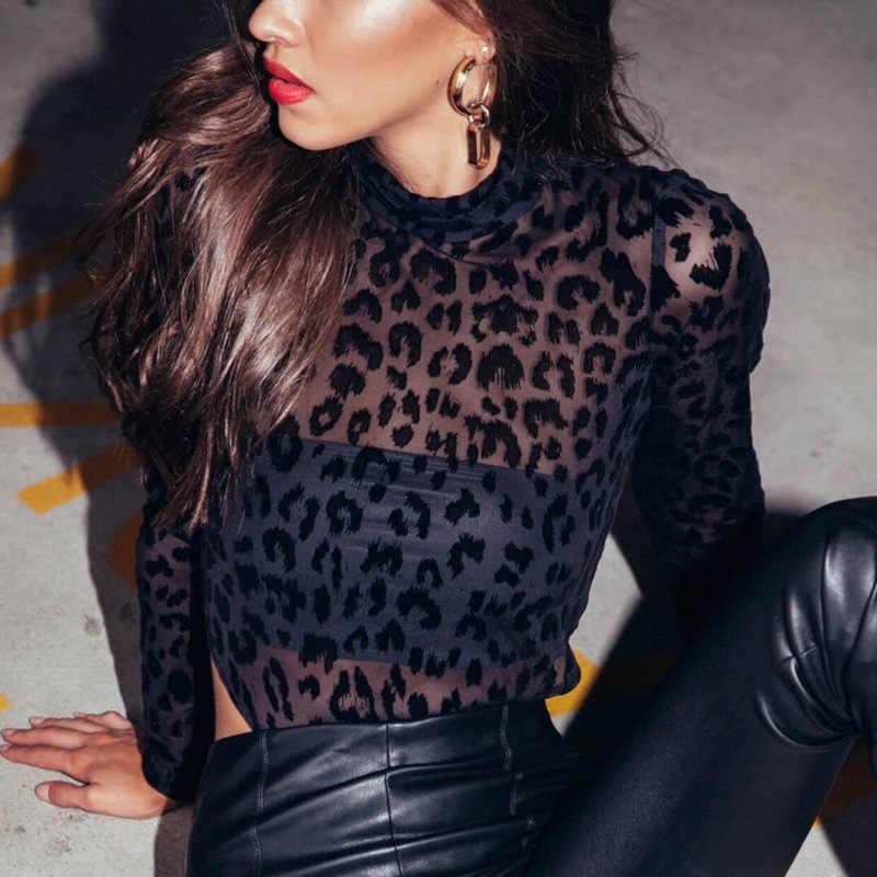 Черные эффектные прозрачные сетчатые комплект для женщин леопардовое прозрачное боди Топ Элегантный Осенний комбинезон с длинными рукавами Обтягивающие Комбинезоны