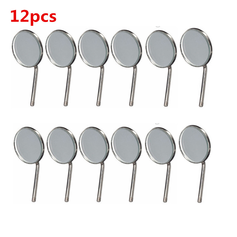 12pcs Dental Mirror Plain Oral Care 22mm Surgical Instruments Replace Tools Dentist