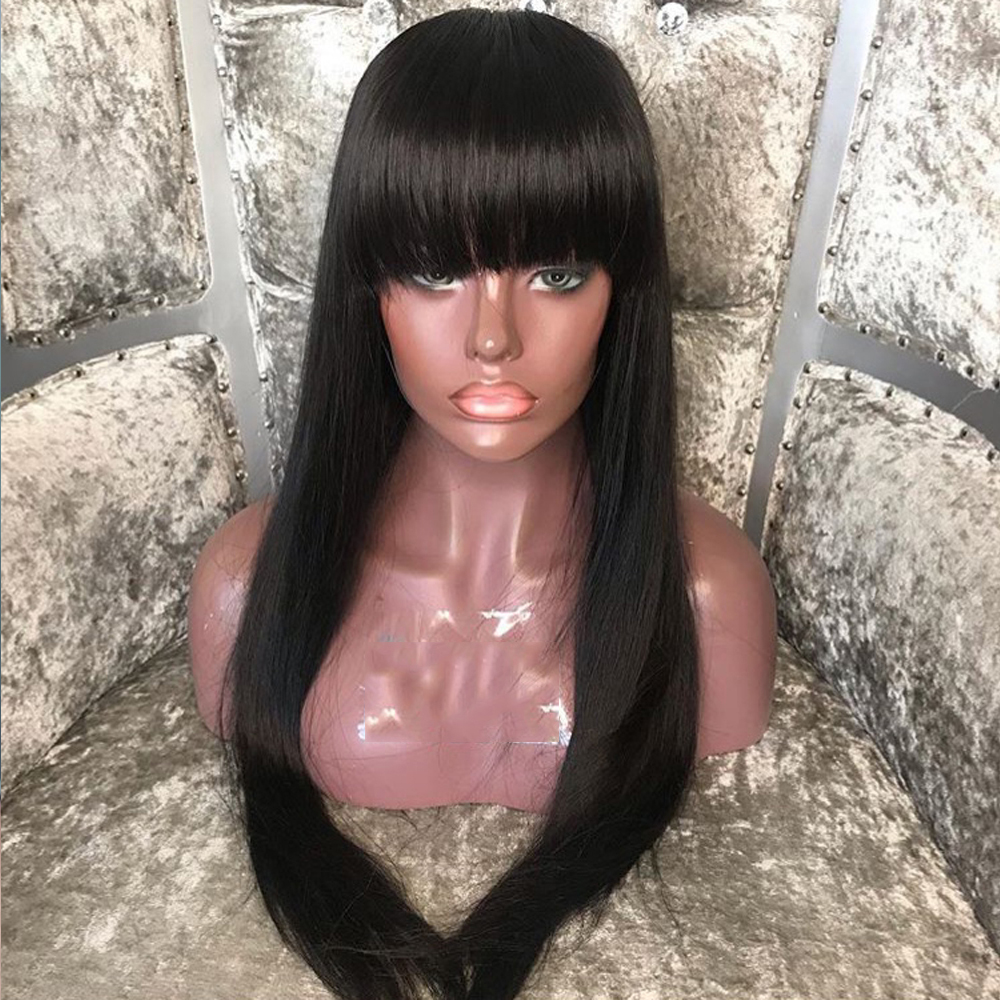 SimBeauty Long Straight  Lace Front Human Hair Wigs With Bangs Peruvian Remy Hair Pre Plucked Glueless Lace Wig Natural Hairline