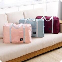 Mode Frauen Reisen Gepäck Tasche Große Kapazität Klapp Tragen-auf Duffle Tasche Faltbare Nylon Zipper Wasserdichte Reise Tragbare Tasche