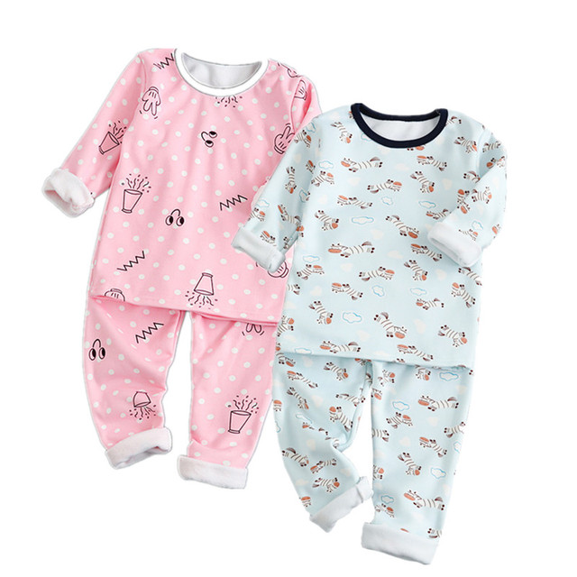 b8d564225 Winter Toddler Baby Boys Girls Pyjamas cotton fleece warm Rabbit ...