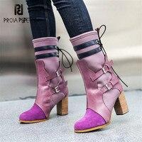 Prova Perfetto/разноцветные женские высокие сапоги из эластичной ткани, облегающие Ботинки martin, женская обувь на не сужающемся книзу массивном вы