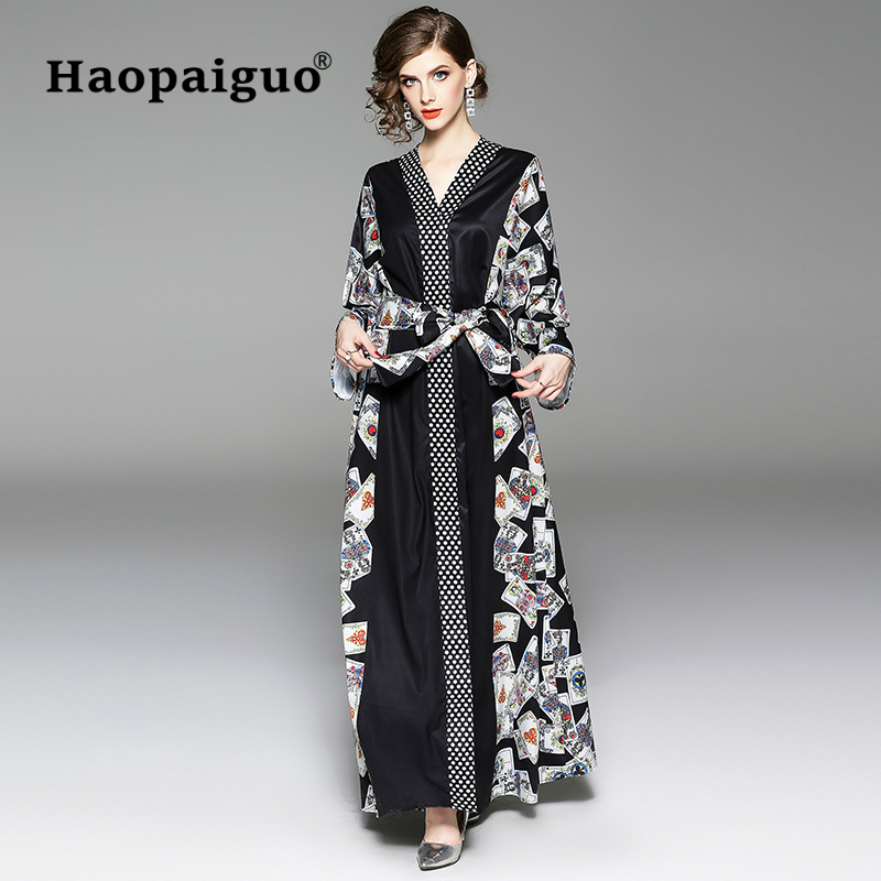 Winter Maxi Dress Women V neck Long Sleeve Casual Vintage Dress Women Printed Playing Cards Long