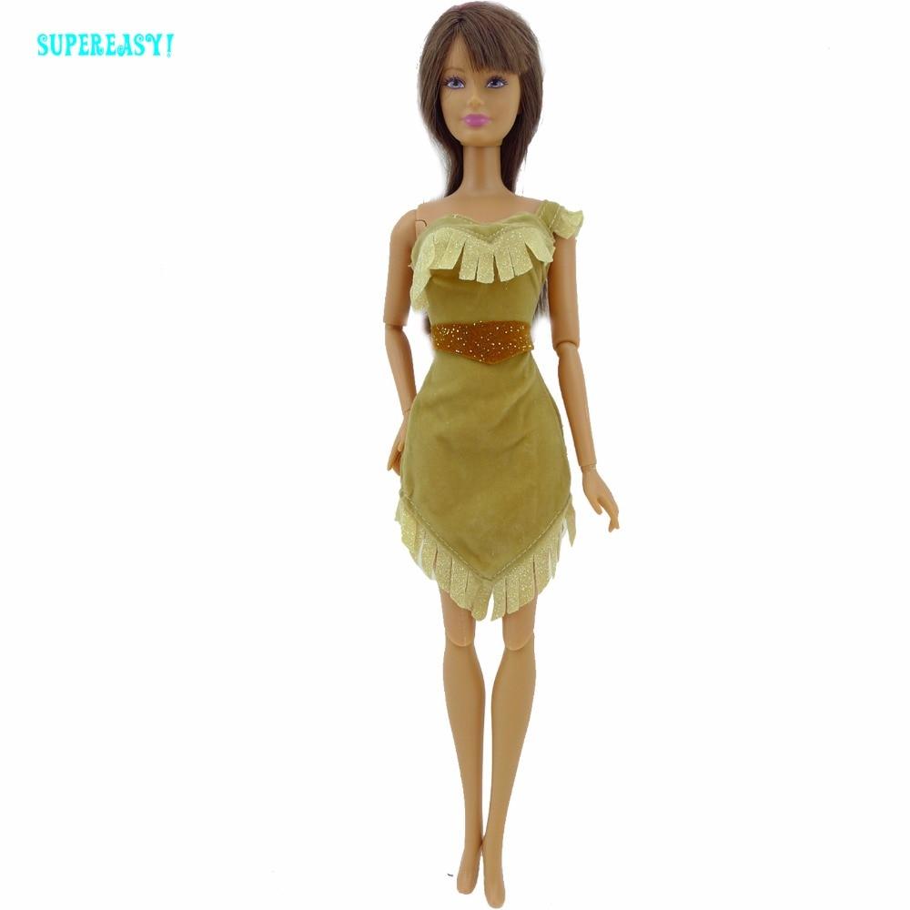 Сказка на одно плечо короткое платье; принцессы мини платье для Покахонтас с поясом костюм Одежда для куклы Барби FR Кукла подарок