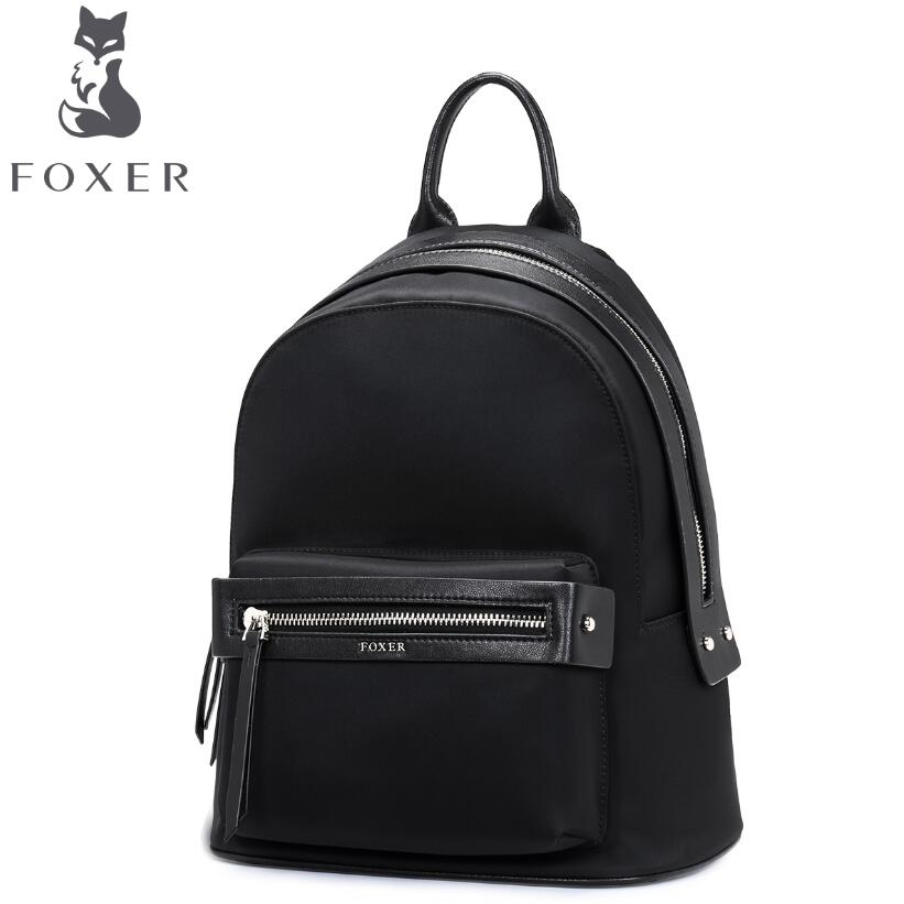 Women bag 2017 FOXER New brand Microfiber Leather  backpack fashion quality Polyester women leisure women backpack women bag 2016 new foxer brand women genuine leather backpack fashion quality women cowhide leisure wild student backpack