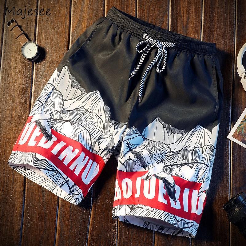 Board Shorts Men Korean Style Harajuku Loose Elastic Waist Lace Up Mens Swimwear Surfing Plus Size 4xl All-match Chic Trendy
